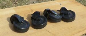 4 Vintage Rubber Factory Cart Dolly Wheels Industrial Age Swivel N Free Ship Usa