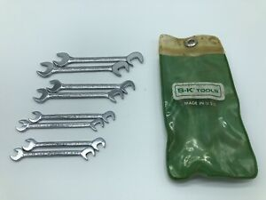 Sk Tools 1608 8 Piece Sae Miniature Offset Angle Ignition Wrench Set