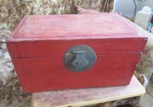 Red Lacquer Antique Chinese Wood Chest