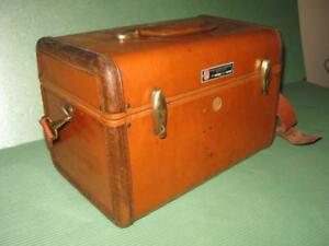 Antique Old Wooden Leather Bag Suit Case Box Chest