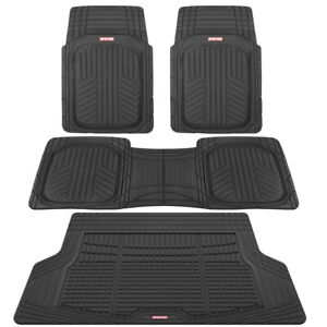 Motor Trend Odorless Deep Dish Thick Rubber Floor Mats Cargo Liner 4 Pc Black