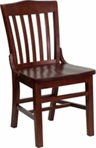 New Heavy Duty Mahogany All Solid Wood Restaurant Chairs lot Of 12 Chairs