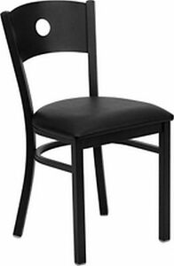 New Metal Designer Restaurant Chairs W Black Vinyl Seat Lot Of 20 Chairs
