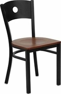 New Metal Designer Restaurant Chairs W Cherry Wood Seat Lot Of 20 Chairs