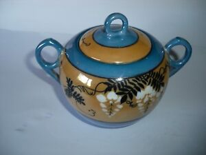 Lusterware Sugar Bowl Iridescent Blue Pearl And Gold Made In Japan Vintage