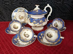 Antique Hand Painted Tea Set Cir Early1800s Davenport Coalport Worchester 11pc