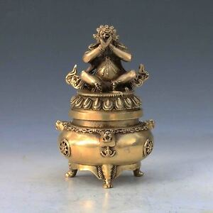 Chinese Brass Handwork Carved God Buddha Incense Burner Lid