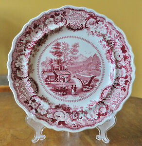 Antique Historical Staffordshire Transferware Plate Adams Conway New Hampshire