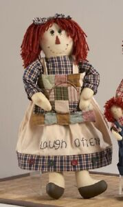 New Primitive Country Rustic Rag Doll W Patchwork Quilt Laugh Often Apron
