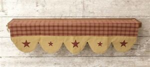 New Primitive Country Rustic Red Plaid Star Farmhouse Fabric Shelf Liner Scarf