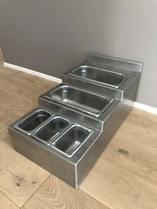 Tiered Insert Pan Holder Flatware Stainless Commercial Condiments Buffet