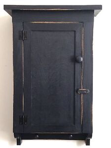 Beautiful Handcraftedprimitive Country Rustic Distressed Black Bath Wall Cabinet