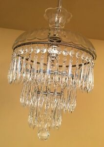 Vintage Lighting 1940s Wedding Cake Crystal Chandelier