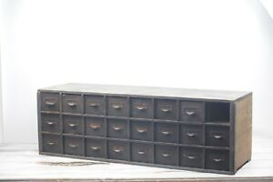 Antique Primitive Wood Cabinet 24 Drawer Counter Apothecary Hardware Pharmacy