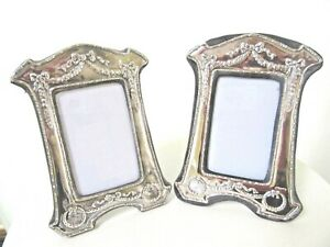 2 Big 9 Vintage Sterling Silver Picture Frames Ribbon Wreath Repousse England