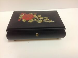 Vintage Wood Inlaid Roses Italy Music Jewelry Box
