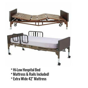 Full electric Bariatric Extra Wide 42 Hospital Bed Mattress Rails Package