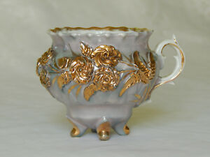 German Victorian Lavender Blue Luster Gold Footed Tea Cup Raised Flowers Floral