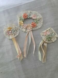 Vintage Teens Era Silk Flower Ribbon Appliques