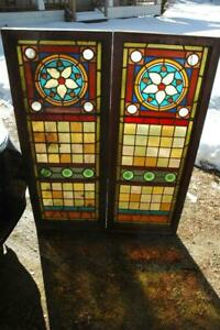 Matched Pair Antique Vintage Victorian Stained Glass Windows W Jewels 18x48