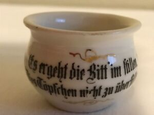 Vintage Porcelain Miniature German Chamber Pot W Inscription Germany