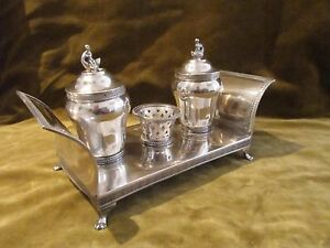 Gorgeous Rare Spanish Silver Double Inkwell Madrid 1843 Couch Empire St 829g