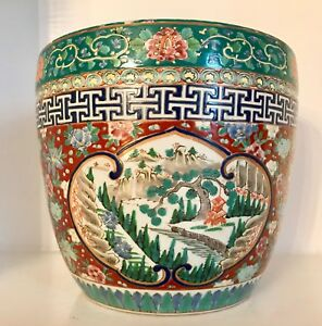 Big 9 8 Pounds Republic Chinese Famille Verte Floral Porcelain Jardiniere Pot