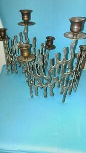 Antique Bronze And Brass Candle Sticks