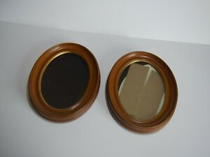 2 Vintage Felt Backed Oval Plastic Picture Frames Gold Color 11 9