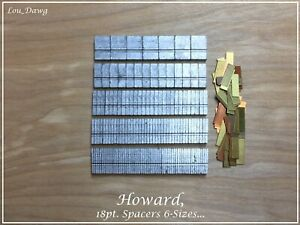 Howard Machine Personalizer 18pt Spacers 6 sizes Hot Foil Stamping Machine