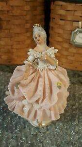 Dresden Lace Dancing Lady Vintage Capodimonte Porcelain Figurine Small Germany