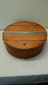 Vtg Primitive Round Lid Handles Shaker Pantry Cheese Box Wood Sewing Box