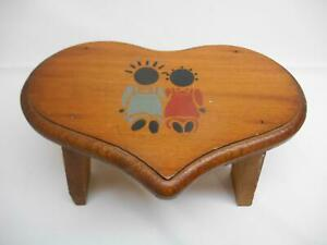 Old Vtg Wood Heart Shaped Milking Step Stool Hand Painted Black Americana