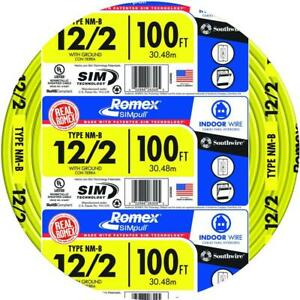 Romex 100 12 2 Non metallic Electrical Wire Cable Copper Indoor Residential New