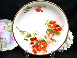 Limoges France Hand Painted Charger Artist Signed Floral Poppy Pattern Platter