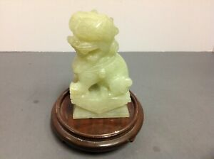Antique Chinese Hand Carved Jade Dragon Foo Dog Temple Statue