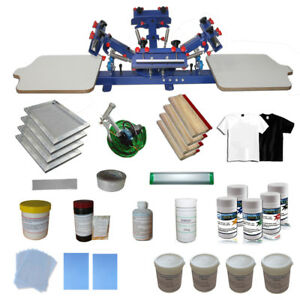 4 Color Screen Printing Starter Hobby Kit With All Press Squeegee Ink Supplies