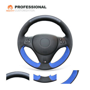 Hand Sewing Blue Suede Black Leather Steering Wheel Cover For Bmw M3 2009 2013