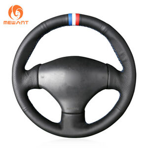 Top Black Genuine Leather Steering Wheel Cover For Peugeot 206 2003 206 Cc 2005