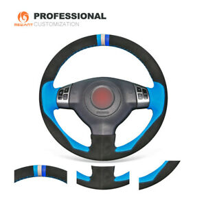 Black Suede Blue Leather 3d Steering Wheel Cover For Suzuki Sx4 Alto Old Swift