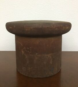 Vtg Antique Millinery Wood Puzzle Block Hat Making Form Mold Marked 6 5 8