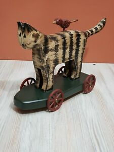 American Folk Art Cat And Bird On Cart Hand Painted On Wood Artist Signed 96