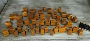 49 Pcs Antique Primitive General Store Wood Letter Alphabet Printing Stamps