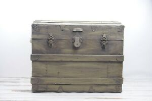 Antique Wood Steamer Trunk Flat Top Steamer Trunk Storage Trunk Coffee Tabl