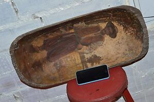 19th Antique Soviet Painting Oil Large Wooden Dough Bowl Primitive Hand Carved