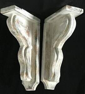 2 Xl Wood Corbels Vintage Gable Brackets Corner Brace Roof Support 19 3 4 H