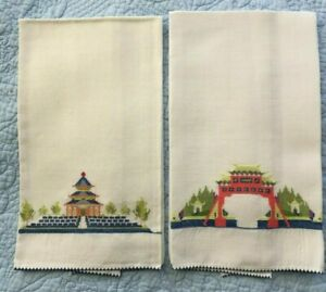 Antique Fine Cotton Asian Pagoda Cross Stitch Embroidered Guest Fingertip Towels