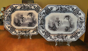 Pair Of Antique Flow Mulberry Staffordshire Ironstone Platters Davenport Cyprus