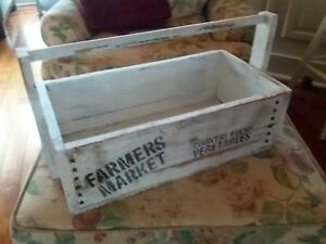 Vintage Old Wooden Carpenter S Tool Box Farm House Primitive Carrying Tote Caddy