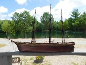 Antique Vintage Ship Model Sailing Ship Wooden Model Hull 28 Nautical Details